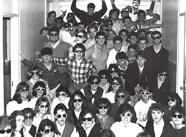 Diane McDonnell Pickles '89 and Bill Pickles 88 can be found (somewhere) in the sophomore Wheeler 2 photo from the Purple Patcher.